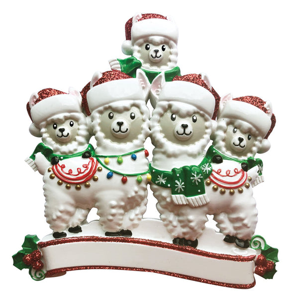 OR1910-5 - Llama Family of 5 Personalized Christmas Ornament