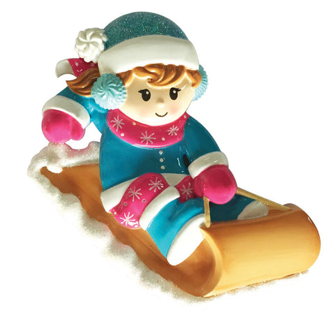 OR1913-G - Girl On Sled Personalised Christmas Decoration