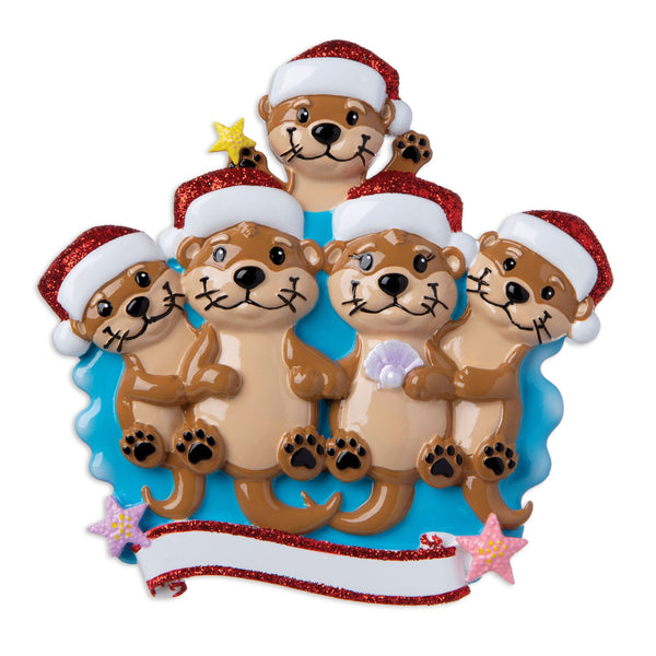 OR1914-5 - Otter Family of 5 Personalised Christmas Decoration