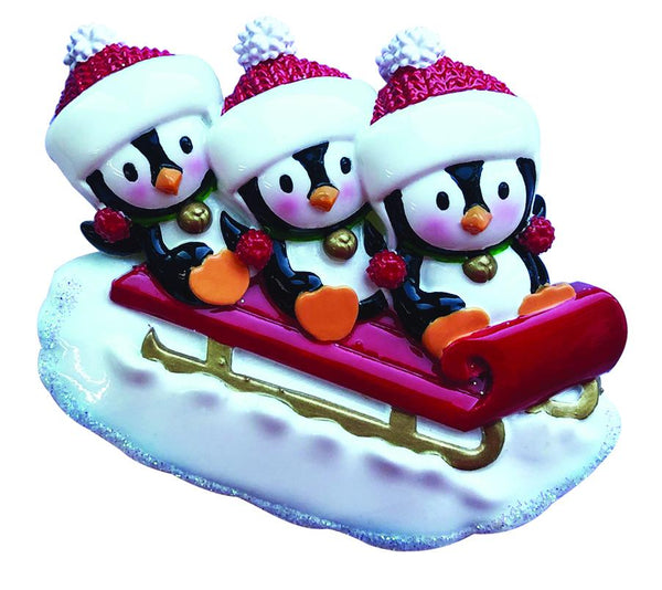 OR1915-3 - Penguin Family of 3 On Sled Personalized Christmas Decoration
