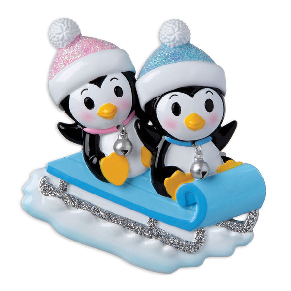 OR1915-A - Twins On Sled (4 Blue/Blue, 4 Pink/Blue, 4 Pink/Pink) Personalised Christmas Decoration