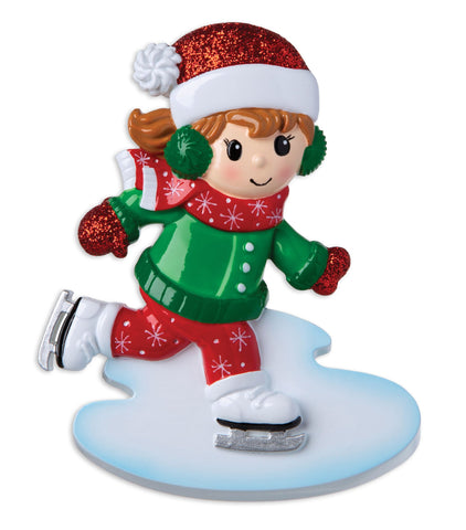 OR1959-G - Ice Skater Girl Personalised Christmas Decoration
