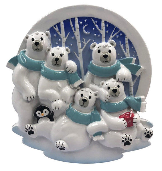 OR2022-5 - Polar Family of 5 Personalized Christmas Decoration