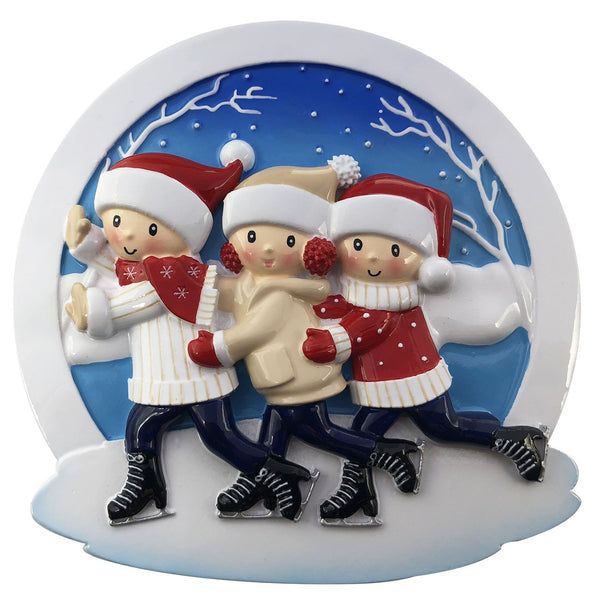 OR2024-3 - Ice Skating Family of 3 Personalized Christmas Decoration