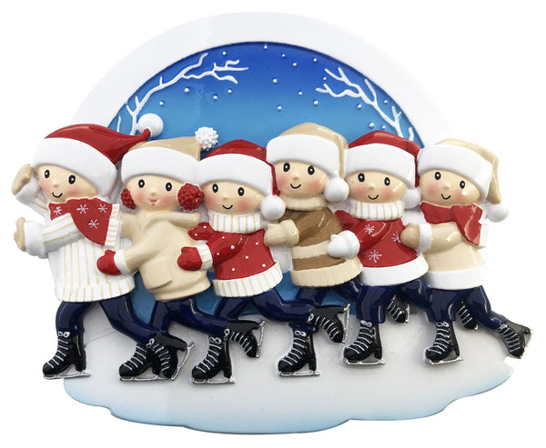 OR2024-6 - Ice Skating Family of 6 Personalized Christmas Decoration