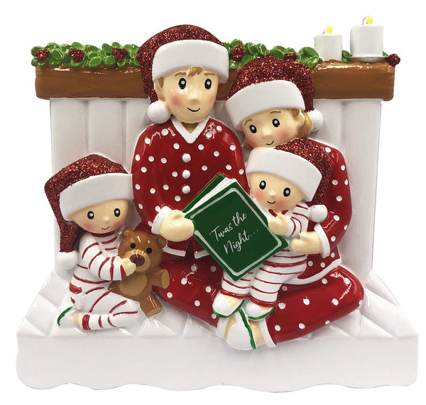 OR2025-4 - Reading In Bed Family of 4 Personalized Christmas Decoration
