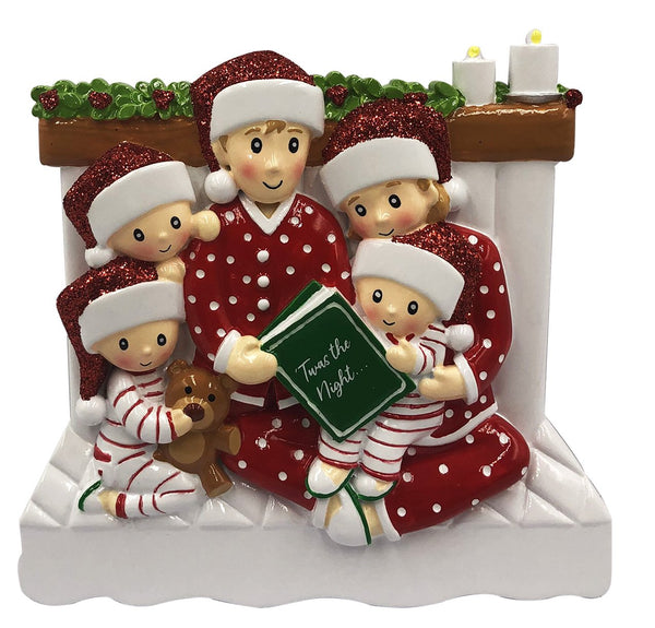 OR2025-5 - Reading In Bed Family of 5 Personalized Christmas Decoration