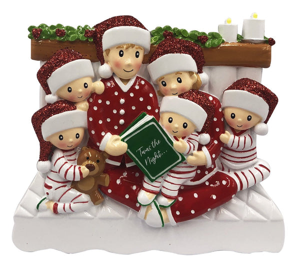 OR2025-6 - Reading In Bed Family of 6 Personalized Christmas Decoration
