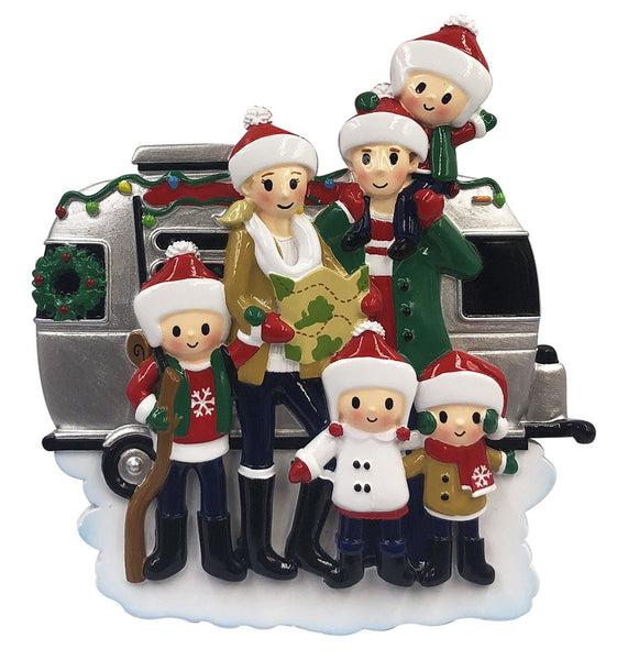 OR2028-6 - RV Family of 6 Personalized Christmas Decoration