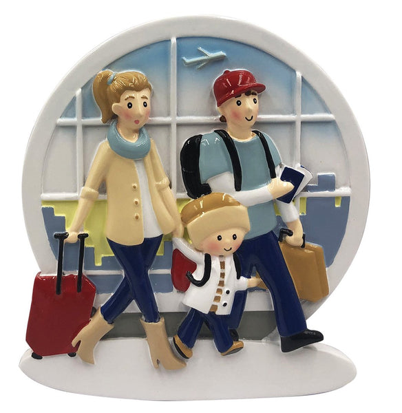 OR2029-3 - New Airplane Family of 3 Personalized Christmas Decoration