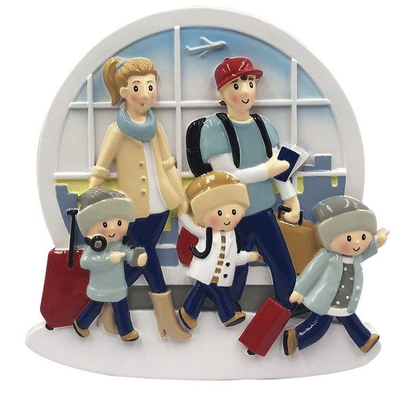OR2029-5 - New Airplane Family of 5 Personalized Christmas Decoration