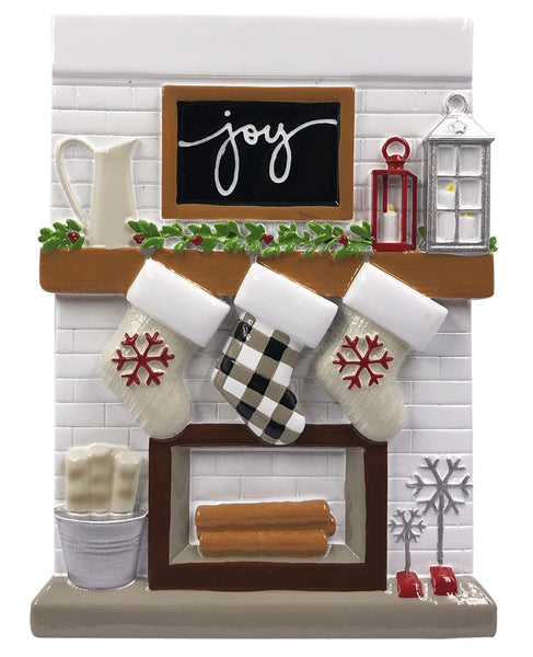 OR2030-3 - Fireplace Mantle Family of 3 Personalized Christmas Decoration