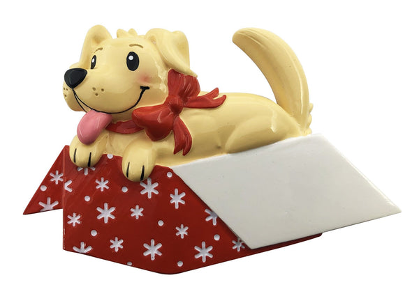 OR2150 - New Dog In Gift Box Personalized Christmas Decoration