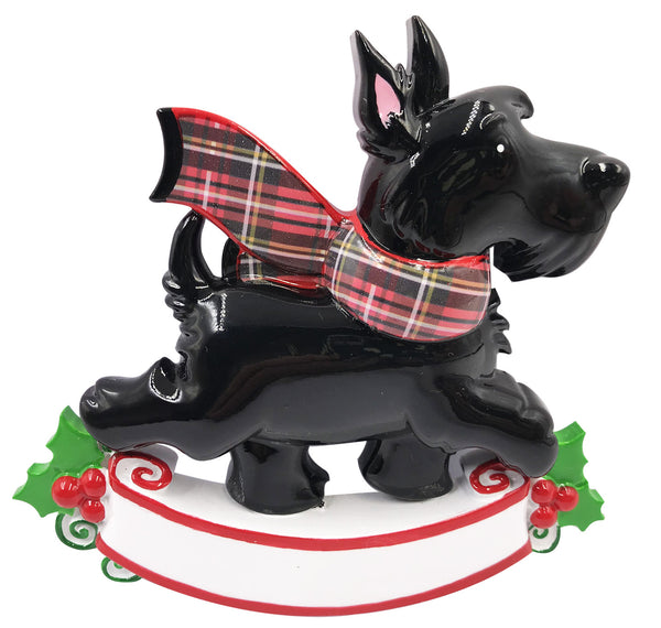 OR2210-A - Scotty Dog w/Tartan Scarf (6 White / 6 Black) Personalized Christmas Decoration