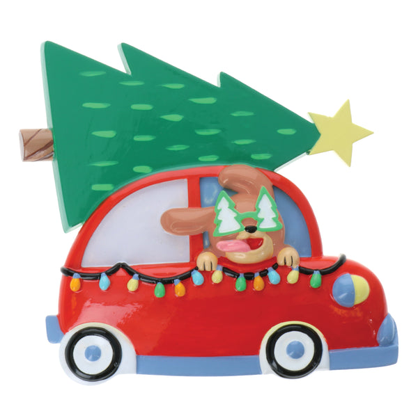 OR2214 - Dog in Car w/Tree on Top Personalized Christmas Decoration