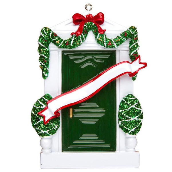 OR229-G - Green Door Personalised Christmas Decoration