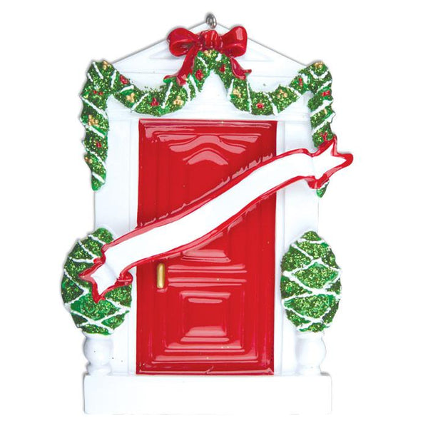 OR229-R - Red Door Personalised Christmas Decoration