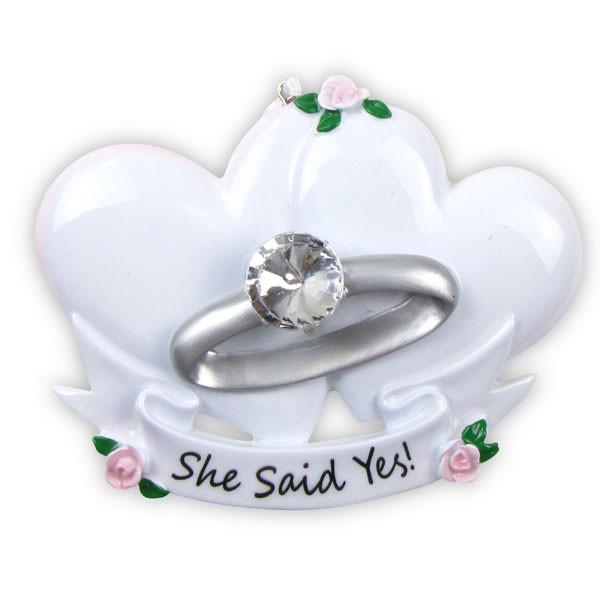 OR494 - Engagement Ring Personalized Christmas Decoration