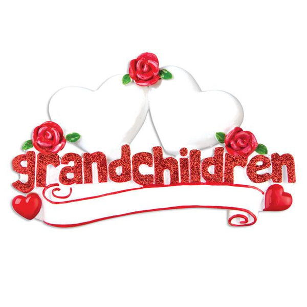 OR529-2 - Grandchildren with Two Hearts Personalised Christmas Decoration