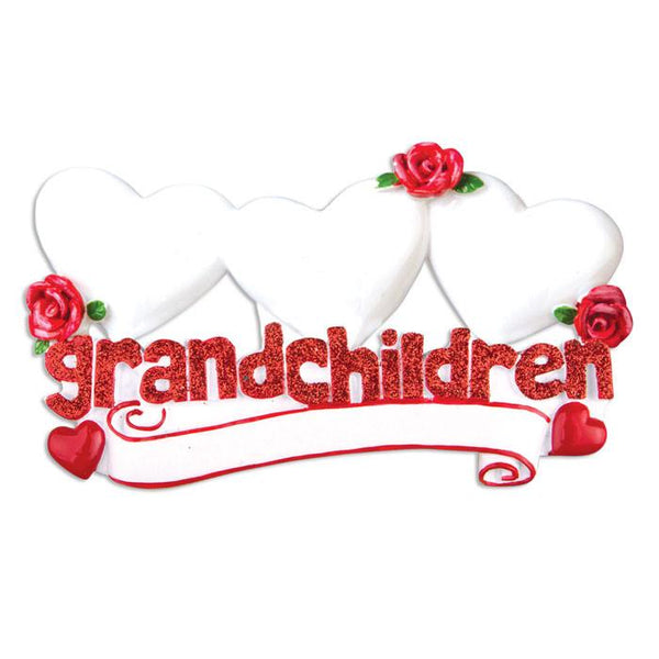 OR529-3 - Grandchildren with Three Hearts Personalised Christmas Decoration
