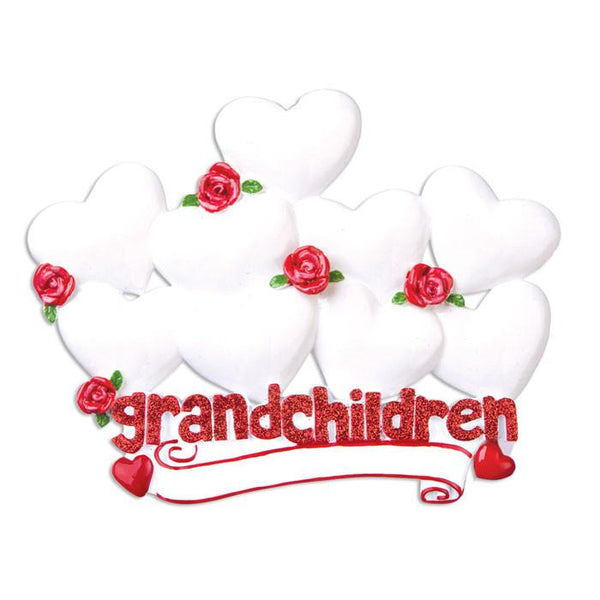 OR529-9 - Grandchildren with Nine Hearts Personalised Christmas Decoration