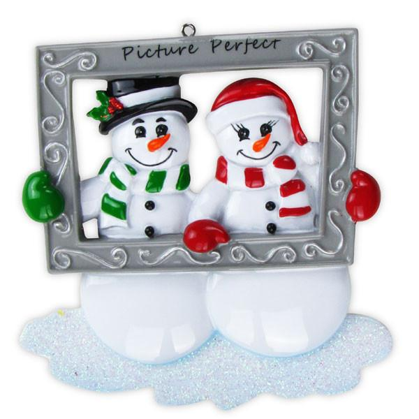 OR705 - Snow Couple Holding Frame Personalised Christmas Decoration