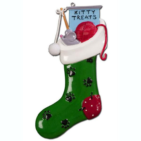 OR718 - Kitty Stocking Personalised Christmas Decoration