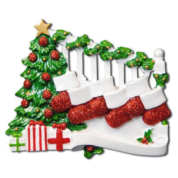 OR823-6 - Bannister with 6 Stockings Personalised Christmas Decoration