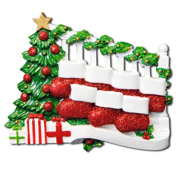 OR823-7 - Bannister with 7 Stockings Personalised Christmas Decoration