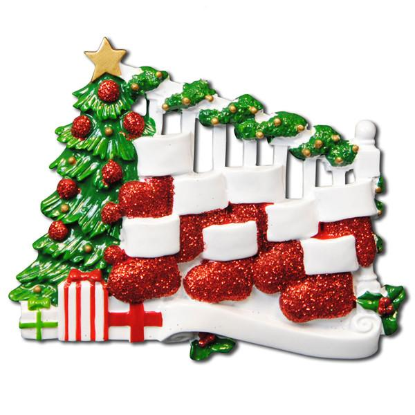 OR823-8 - Bannister with 8 Stockings Personalised Christmas Decoration