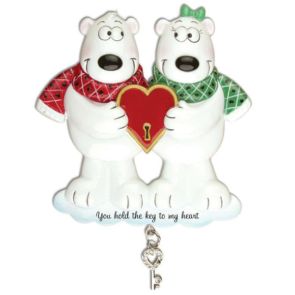 OR905 - Couples Key To My Heart Polar Bear Personalised Christmas Decorations