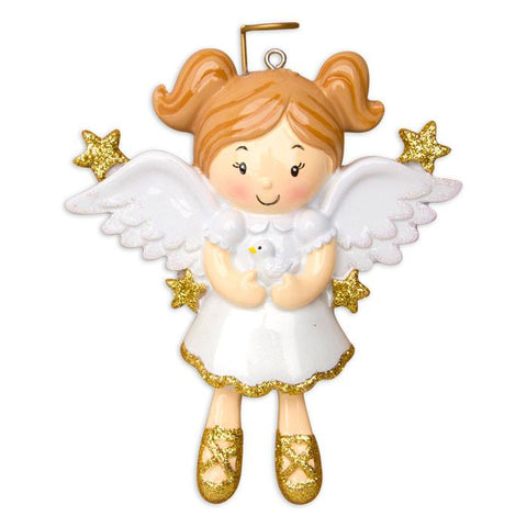 OR907 - Angel With Dove Personalised Christmas Decoration