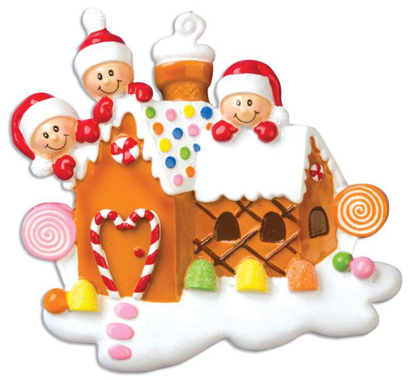 OR965-3 - Gingerbread House With 3 Personalised Christmas Decoration