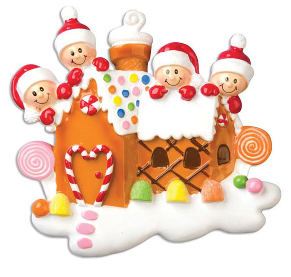 OR965-4 - Gingerbread House With 4 Personalised Christmas Decoration