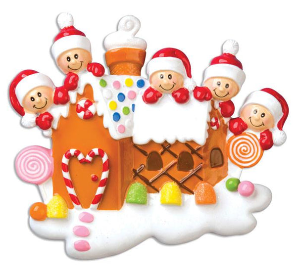 OR965-5 - Gingerbread House With 5 Personalised Christmas Decoration