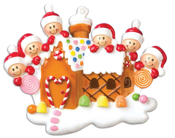 OR965-6 - Gingerbread House With 6 Personalised Christmas Decoration