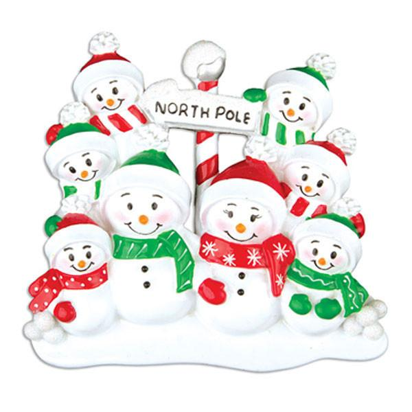 OR967-8 - North Pole Family of 8 Personalised Christmas Decoration