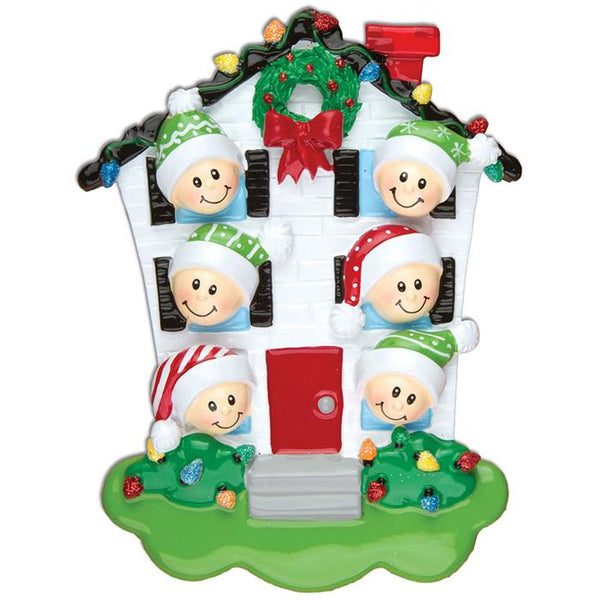 OR976-6 - House Family of 6 Personalised Christmas Decorations