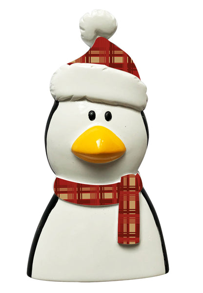 P18-03-013 - Penguin with Plaid Scarf and Hat Personalised Christmas Decoration
