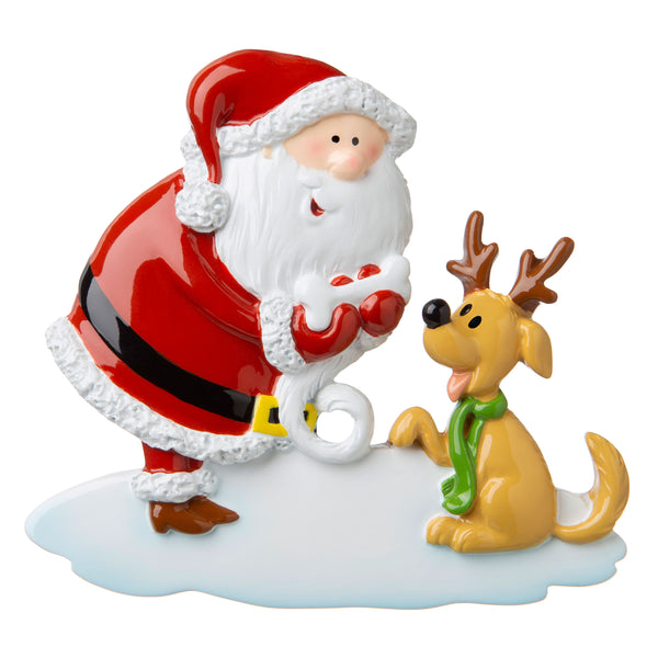 P18-03-031 - Santa with Dog and Bone Personalised Christmas Decoration