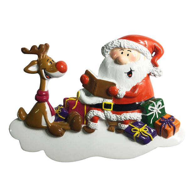 P18-03-035 - Santa Reading Book To Rudolph Personalised Christmas Decoration