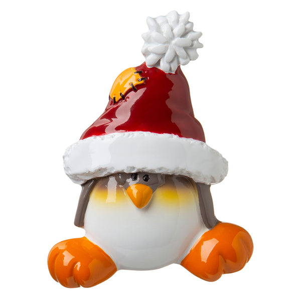 P18-03-043 - Penguin in Santa Cap Covering Eyes Personalised Christmas Decoration