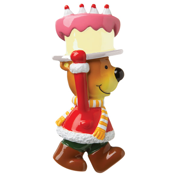 P18-03-053 - Brown Bear with Birthday Cake Personalised Christmas Decoration