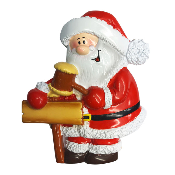 P18-03-055 - Santa with Hammer and Sign Personalised Christmas Decoration