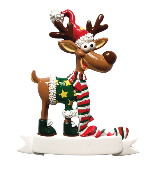 P18-03-101 - Goofy Reinder with Scarf Personalised Christmas Decoration