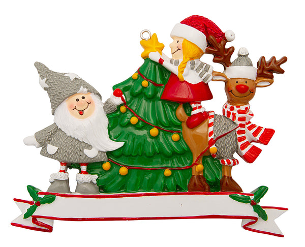 P18-03-830 - Family of 3 with Christmas Tree Personalised Christmas Decoration