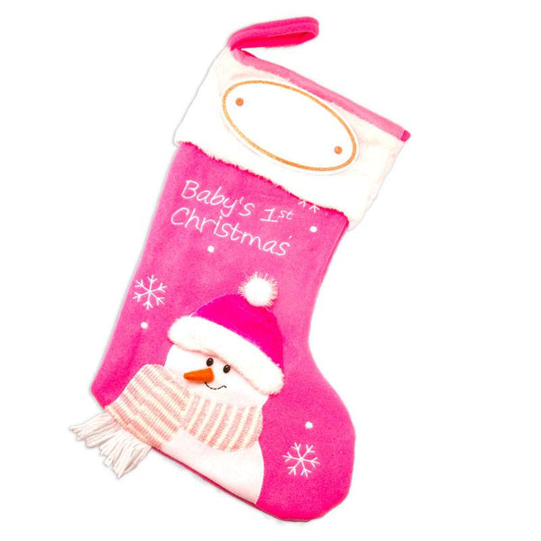 PBS144 BG - Pink Baby's First Personalised Christmas Stocking