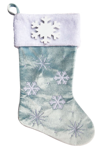 PBS152 PF-BLUE -  Snowflakes and Picture Frame (Light Blue) Personalised Christmas Stocking