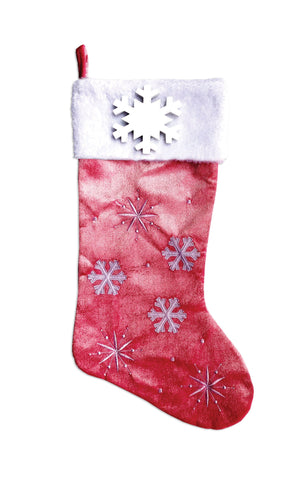 PBS152 PF-PINK -  Snowflakes and Picture Frame (Pink) Personalised Christmas Stocking