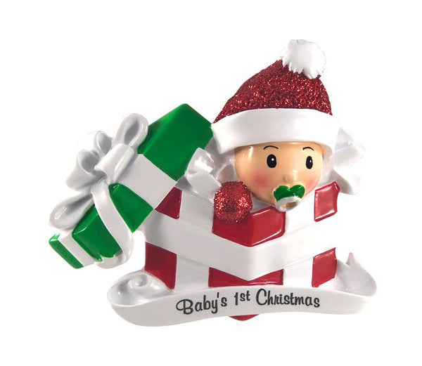 OR1330-RG - Baby In Present Personalised Christmas Decoration